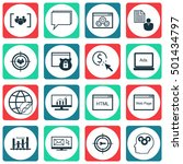 set of seo icons on website ... | Shutterstock .eps vector #501434797