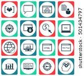 set of seo icons on website ... | Shutterstock .eps vector #501434797
