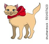 cute cat with a red bow image | Shutterstock .eps vector #501437623