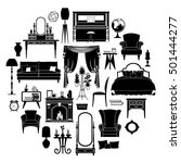 set of silhouettes of furniture.... | Shutterstock .eps vector #501444277