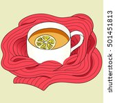 tea with lemon wrapped in a red ... | Shutterstock .eps vector #501451813