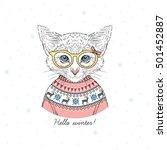 cute portrait of kitten girl... | Shutterstock .eps vector #501452887