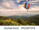 hot air balloon over forest... | Shutterstock . vector #501487333
