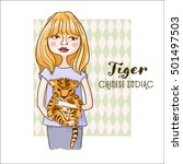 cute girl holding tiger  ... | Shutterstock .eps vector #501497503
