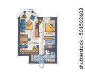 architectural color floor plan. ... | Shutterstock .eps vector #501502603