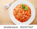 canned spaghetti on the white... | Shutterstock . vector #501517267