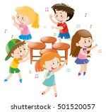 children playing music chair... | Shutterstock .eps vector #501520057