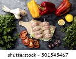 composition of vegetables and... | Shutterstock . vector #501545467