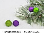 Four Purple And Green Christma...