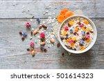 bowl of homemade muesli with... | Shutterstock . vector #501614323