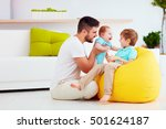 happy family having fun at home.... | Shutterstock . vector #501624187
