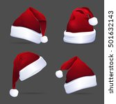collection of red santa hats.... | Shutterstock .eps vector #501632143
