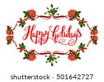 holiday floral  frame | Shutterstock .eps vector #501642727
