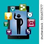 fitness app technology icons... | Shutterstock .eps vector #501657577