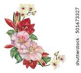 amaryllis bouquet watercolor | Shutterstock . vector #501673327