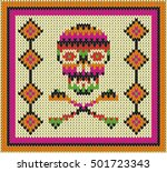 pattern with skull and ethnic... | Shutterstock .eps vector #501723343