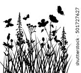 vector silhouettes of flowers... | Shutterstock .eps vector #501727627