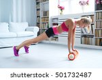 workout. woman exercise at home | Shutterstock . vector #501732487
