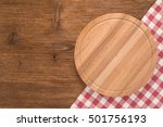 cutting board with tablecloth... | Shutterstock . vector #501756193