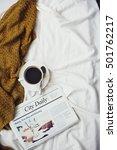 Small photo of Coffee Americano Espresso Newspaper Bedroom Concept