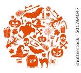 set of halloween icons in... | Shutterstock .eps vector #501764047
