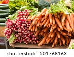 bunch of carrots and  radish on ... | Shutterstock . vector #501768163