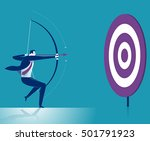 businessman aiming target.... | Shutterstock .eps vector #501791923