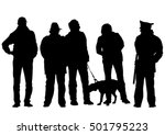 man with a dog on a leash on a... | Shutterstock .eps vector #501795223