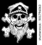 skull with beard  cross bones... | Shutterstock .eps vector #501796063