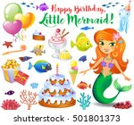 cute birthday design elements... | Shutterstock .eps vector #501801373
