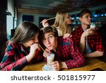 group of young friends hanging... | Shutterstock . vector #501815977