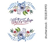 wildflower anemone flower frame ... | Shutterstock . vector #501819493