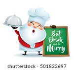 chef santa claus with a serving ... | Shutterstock .eps vector #501822697