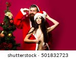 bearded santa claus man with... | Shutterstock . vector #501832723