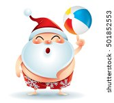 santa claus in swimsuit with a... | Shutterstock .eps vector #501852553