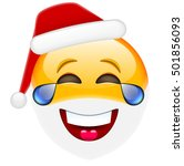 laughing santa smile with tears ... | Shutterstock .eps vector #501856093