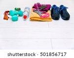 fitness workout equipment on... | Shutterstock . vector #501856717