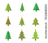 christmas tree set  vector... | Shutterstock .eps vector #501868003