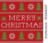 red knitted christmas sweater... | Shutterstock .eps vector #501868207
