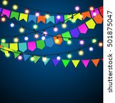 color pennant bunting and... | Shutterstock .eps vector #501875047