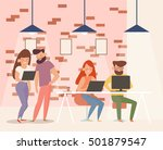 coworking center. team work on... | Shutterstock .eps vector #501879547