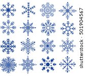blue snowflakes silhouette set... | Shutterstock .eps vector #501904567