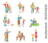grandparents and kids spending... | Shutterstock .eps vector #501914653