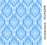 Seamless blue damask background - stock vector