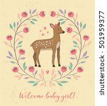 cute card with dear and flowers ... | Shutterstock .eps vector #501959377