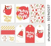 cute set with winter cards ... | Shutterstock .eps vector #501965257
