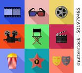 set of simple cinema flat icons ... | Shutterstock .eps vector #501979483