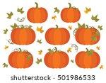 whole orange autumn pumpkins | Shutterstock .eps vector #501986533