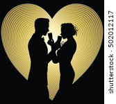 romantic couple silhouette... | Shutterstock .eps vector #502012117