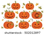 carved orange jack o lantern... | Shutterstock .eps vector #502012897